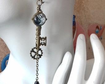 Key, yin yang steampunk, cogs and black tear