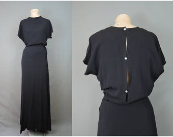 Vintage Evening Gown, 1940s Black Dress, fits 36 bust, Rhinestone Buttons on back