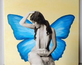Blue Butterfly- Wall Art, mixed media, collage, vintage photograph, butterfly
