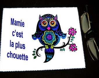 """Cloth wipes glasses with message """"Grandma is the OWL"""""""