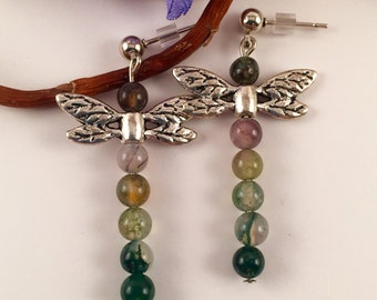 Dragonfly, nature stones post earrings