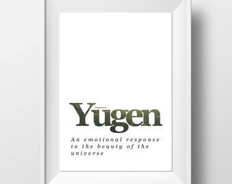 Yugen Print - Spiritual Wall Print - Hippie Wall Art - Nature Quote Print - Spiritual Definition Print - Spiritual Gift - Nature Gift