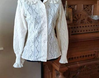 Beautiful 60's Saks Fifth Avenue Ivory Lace Blouse Ruffled Collar & Cuffs Pearl Buttons
