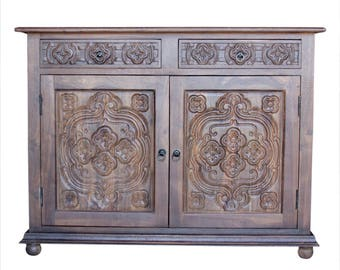 Carved Quinta Buffet Cabinet, Carved Wood Sideboard, Spanish Colonial  Sideboard, Spanish Buffet Cabinet