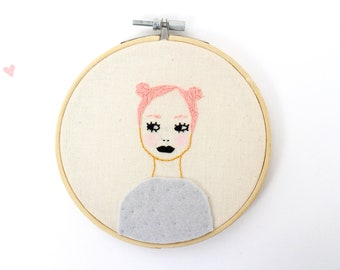 Hand Embroidered Woman - Hoop art - Embroidery Art - Girl with pink hair blue