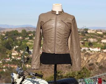 Grey / Brown Vegan Motorcycle Jacket (Vintage / 80s)