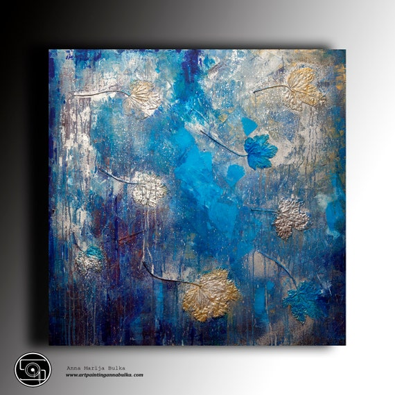 Art tableau peinture abstraite moderne peinture textur e toile - Tableau bleu canard ...