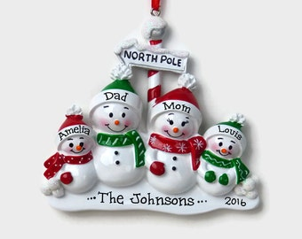 4 Snowmen at the North Pole Personalized Ornament - Snowman Family of Four