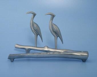 Herons Menorah Handmade by Shraga Landesman, Aluminium cast ,Hanukkah, Judaica