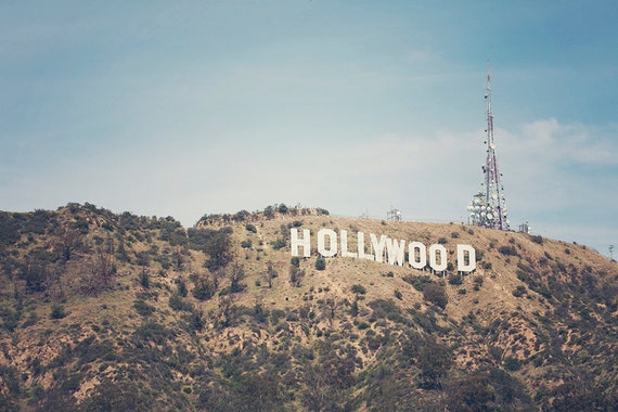 Hollywood Sign Photography Los Angeles Photograph Bohemian Wall Art California Decor Vintage Print Poster Size Travel 30 X 45