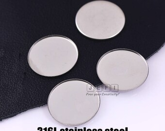 Wholesale 100 316L Stainless Steel Jagged Frame 15mm/ 20mm/ 25mm/ 30mm Round Bezel Setting Pendant Base Cabochon Mountings Pendant Blanks