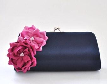 Midnight Blue and Shades of Orchids Bridesmaid clutch / Bridal Clutch / Wedding clutch / Prom clutch / Custom clutch