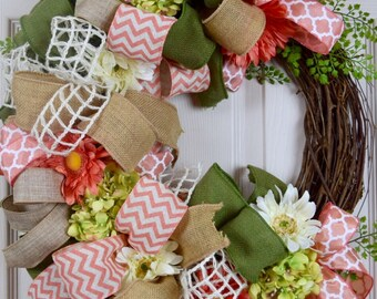 Coral and Green Bow Grapevine with Daisies and Hydrangeas; Everyday Wreath with Flowers; Floral Grapevine Wreath Coral Sage Green Home Decor