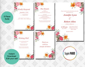 Wedding Invitation Template, Editable Wedding Invite, Instant Download, Printable, Everything you need.