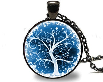 Tree of Life Necklace , Tree of Life Pendant Winter Scene , Black (PD0537)