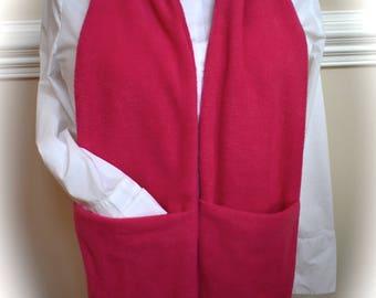 Fuchsia pocket scarf with a hidden zippered pocket