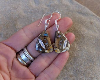 Boulder Opal earrings - Koroit Opal conglomerate -  handmade in Australia by NaturesArtMelbourne - brown white beige jewelry