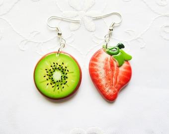 Strawberry Kiwi Earrings / Fruit Earrings / Kawaii / Summer / Cute Earrings/ Fun / Mismatched / Earrings