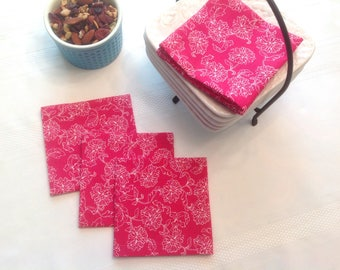Pink and White Cotton Fabric Cocktail Napkins Appetizer Napkins Beverage Napkins set of 6 or 8