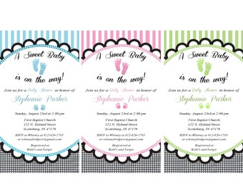 Baby Feet  Blue, Pink or Nuetral  Baby Shower Printed Invitations