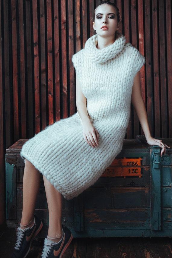 Chunky Knit Sleeveless Sweater Dress Super Chunky Knit