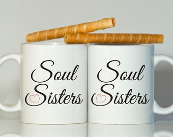 Soul sisters mugs, Best friend gift, Gift for sister, Gift for friend, Sisters mugs, Friend gift, Best friend, Soul sisters mugs, Sisters