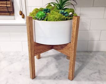 Small Mid Century Modern Plant Stand, Square Legs, Oak Wood, Wide
