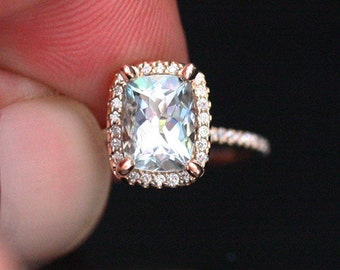 Cushion Aquamarine Engagement Ring in 14k Rose Gold with Aquamarine Cushion 8x6mm and Diamonds
