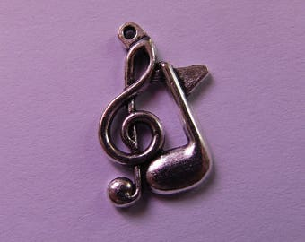 silver pendant clef clef with musical note 22mmx13mm