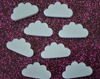 8 x laser cut acrylic cloud cabochon