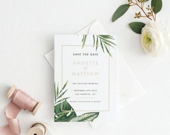 Printable Save The Date Printable - Modern Tropical Foliage Save the Date Printable - Wedding Invites - Letter or A4 Size (Item code: P349)