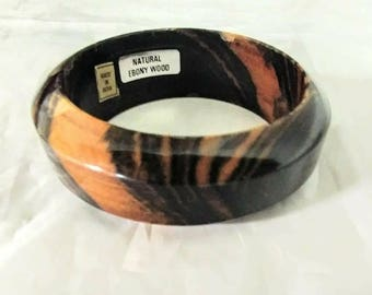 Vintage Natural Tiger Ebony Wood Bangle Bracelet made in India with Original Stickers 2.325 inch I. D.
