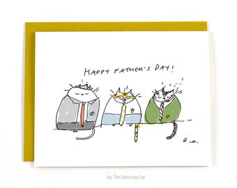 Funny Father's Day Card - Cat Dad - Cats with Ties