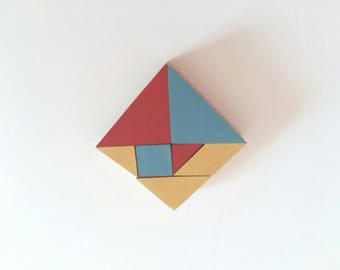 Tangram Wooden Educational Puzzle - Geometric Developmental Game for Toddlers - Gift for Kids