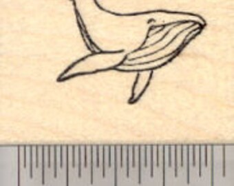 Whale Rubber Stamp, Alaska, Humpback Whale, Small D25140 Wood Mounted