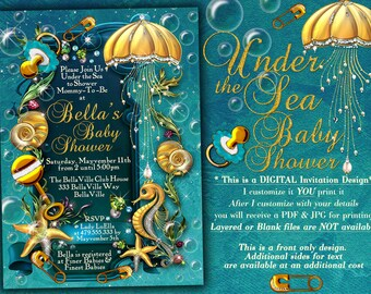 Mermaid pirate party mermaid under sea party invitations under the sea baby shower invitation enchanted seas shower baby shower invitation stopboris Image collections