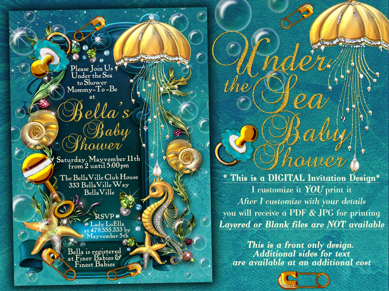 Under the Sea Baby Shower Invitation Enchanted Seas Shower