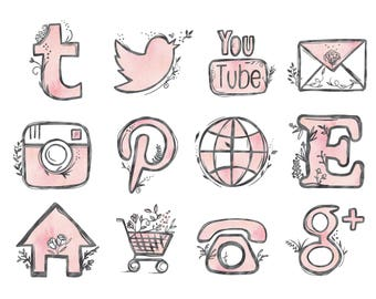 48 hand drawn social media icons social media buttons social icons pink social media icons blog buttons blog icons website icons