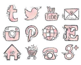 48 hand drawn social media icons social media buttons social icons pink social media icons blog buttons blog icons website icons