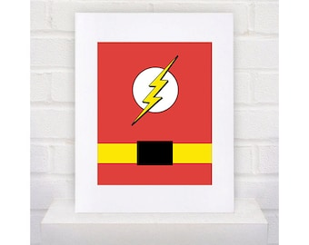 Digital Download Flash Superhero with belt Typography Poster Print - Boys Room - 8x10 - Flash Superhero Typography Print -  Flash Superhero