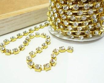 Gold Rhinestone Chain, Clear Crystal, (6mm / 1 Foot Qty)
