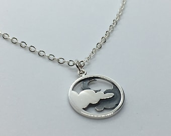 Night Sky and Moon Pendant! Solid Sterling Silver Cloud and Moon Charm, Layered Cloud Necklace, Add Birthstones for a Unique Gift!