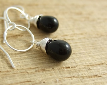 Earrings with Black Glass Teardrops Wire Wrapped to Loops CHE-227