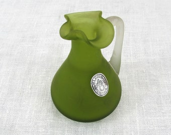 "Vintage Pilgrim Olive Green Glass Ewer - 4-3/4"" Hand Blown glass - ca 60s"