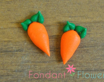 "40pc 3/4"" - 30pc 1"" Royal Icing Carrots - Gumpaste Cupcake Cake Topper"