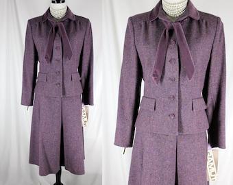 Vintage Tweed Wool Suit Skirt Jacket Gamut Chas. A. Stephens purple Lavender