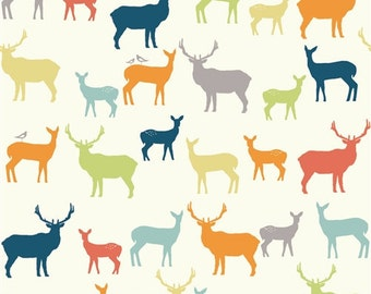 Organic Cotton by the Yard, Deer Elk Fabric, Birch Fabrics, Elk Family Multi-print, Quilting Weight