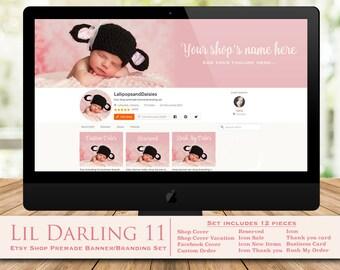 """knitting banner set-knitting shop banner-knitting branding-baby shop banner-baby banner set-baby shop graphics-etsy shop """"Lil Darling 11"""""""
