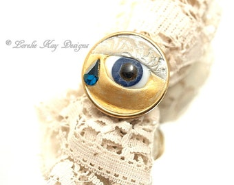 Only Happy Tears Eye Ring Glass Eye Inspiring Message Ring  Assemblage Ring One-of-a-kind Silver Plated Ring Mixed Media Clay
