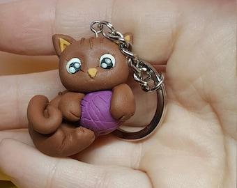Cute kitten keychain, handmade Fimo
